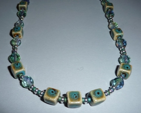 Cool Green and Blue Faceted Necklace