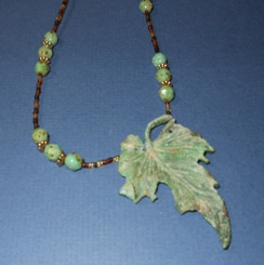 Altered Maple Leaf Necklace Handmade