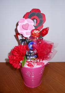 Dark Chocolate Candy and Flower Bouquet