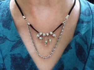 Silver Beads on Black Suede Leather Necklace