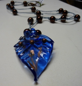 Blue Mixed Media Leaf Necklace