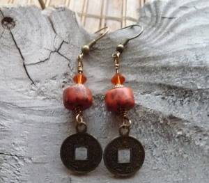 Dark Pumpkin Indian Red wire wrapped pierced earrings